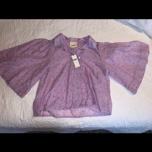 Maeve Anthropologie patterned purple top